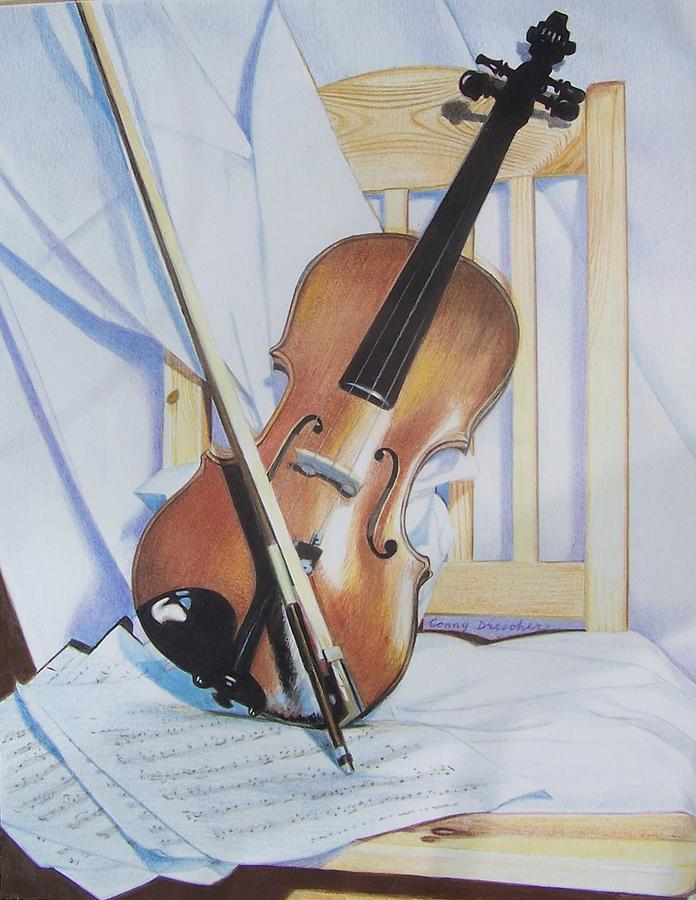 Violin Mixed Media - Virginias Violin by Constance Drescher