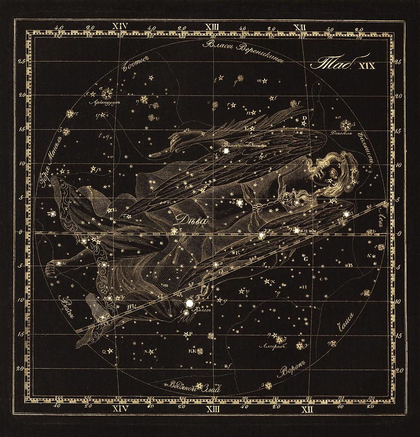 Virgo Photograph - Virgo Constellation, 1829 by Science Photo Library
