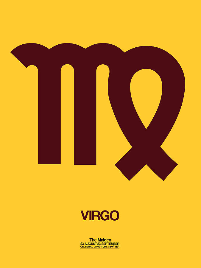 Virgo Digital Art - Virgo Zodiac Sign Brown by Naxart Studio
