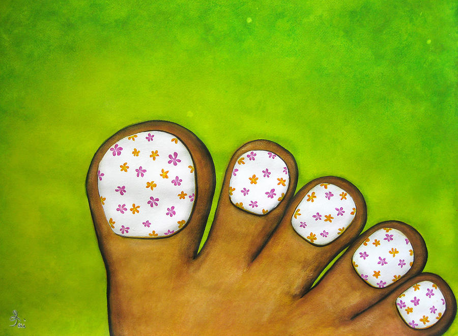 Toes Painting - Virtual Pedicure by Oiyee At Oystudio
