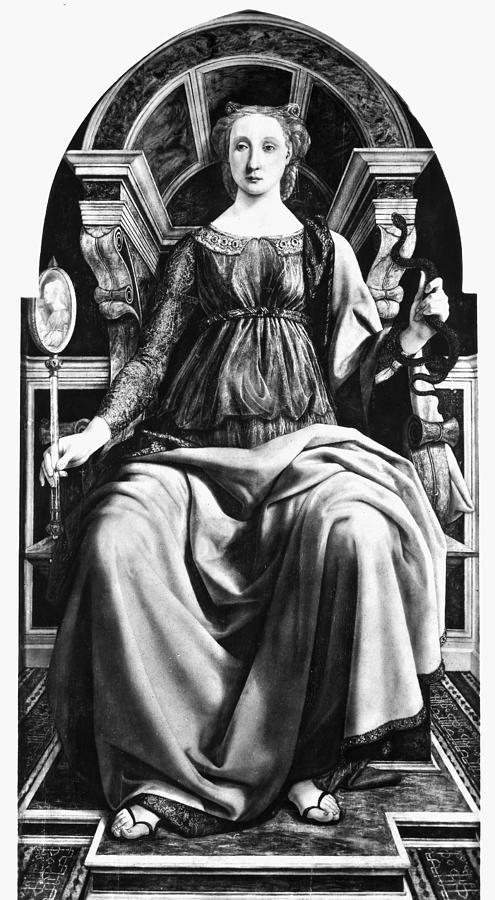 1470 Painting - Virtues Prudence C1470 by Granger