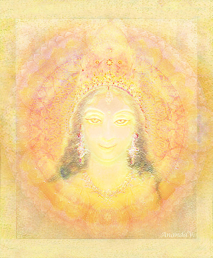 Goddess Mixed Media - Vision Of A Goddess - A Being Of Light by Ananda Vdovic