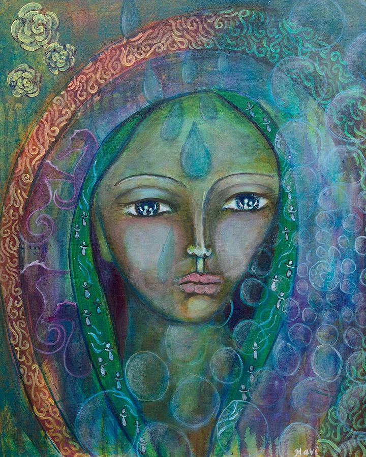 Sacred Feminine Painting - Visioning Woman Of Living Waters by Havi Mandell