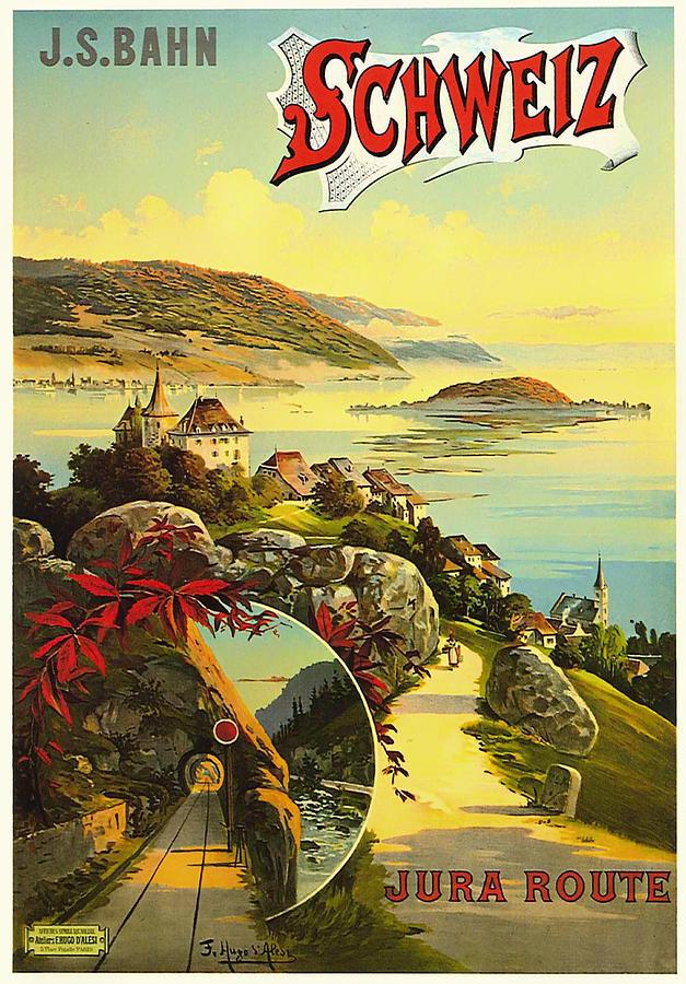 Switzerland Drawing - Visit Switzerland 1895 by Mountain Dreams