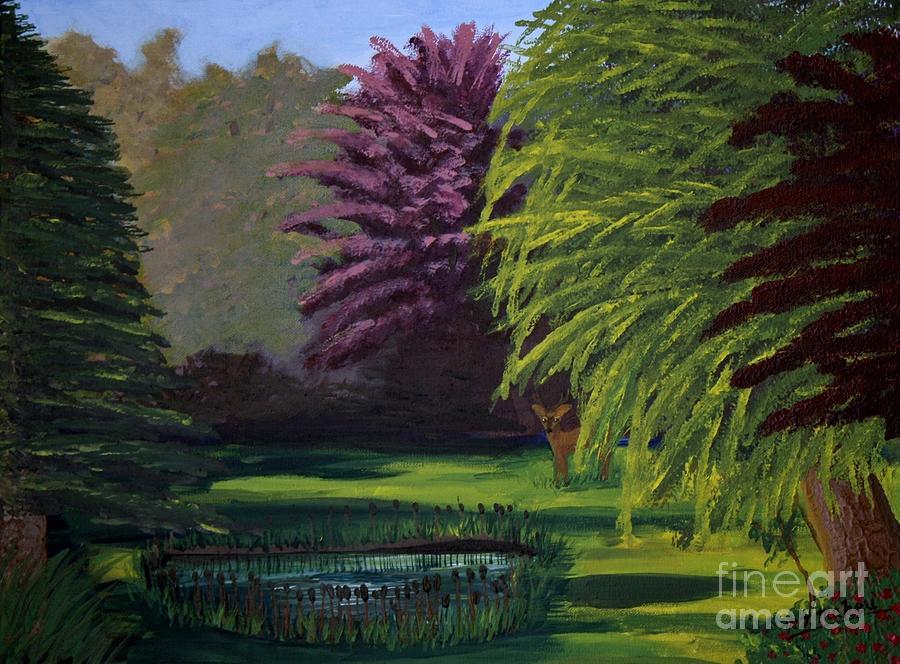 Visitor to the Backyard Pond by Vicki Maheu