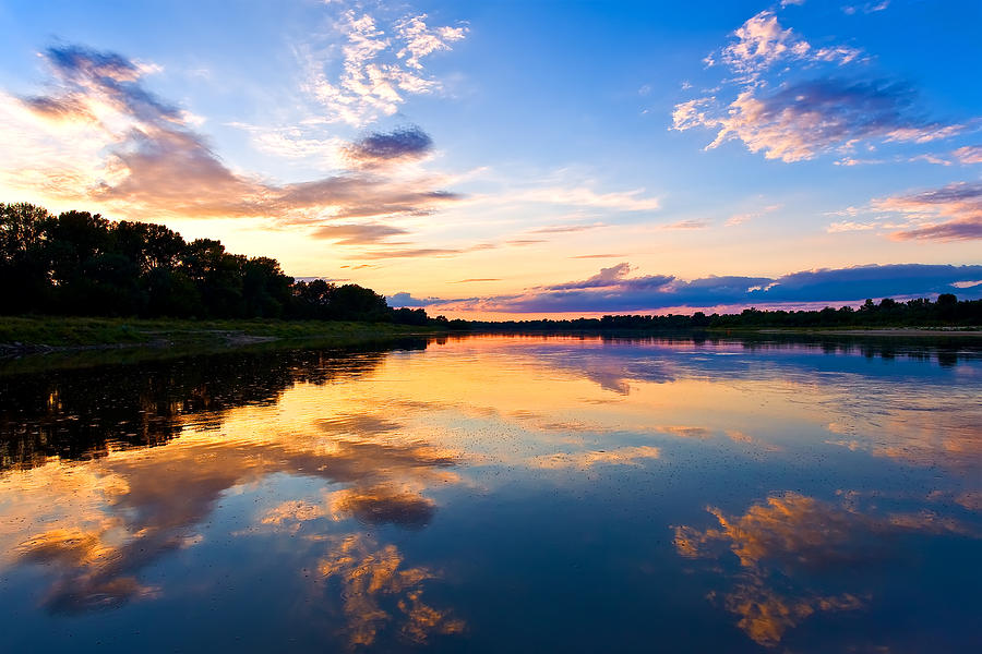 Vistula Photograph - Vistula River Sunset by Tomasz Dziubinski