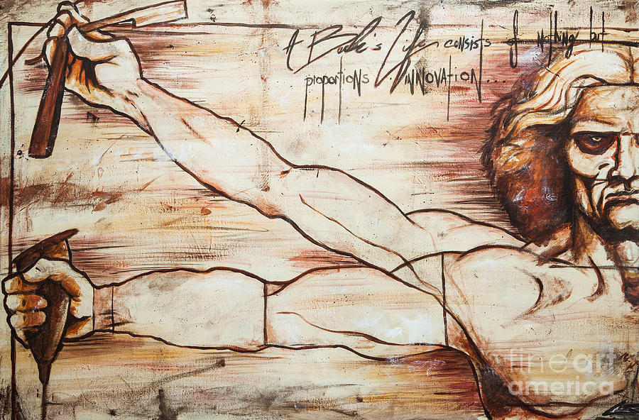 Leonardo Da Vinci Painting - Vitruvian Barber by Shop Aethetiks