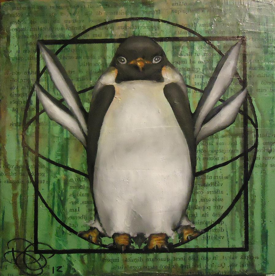 Vitruvian Penguin Subjectivity Of Ideal Proportions Painting by ...