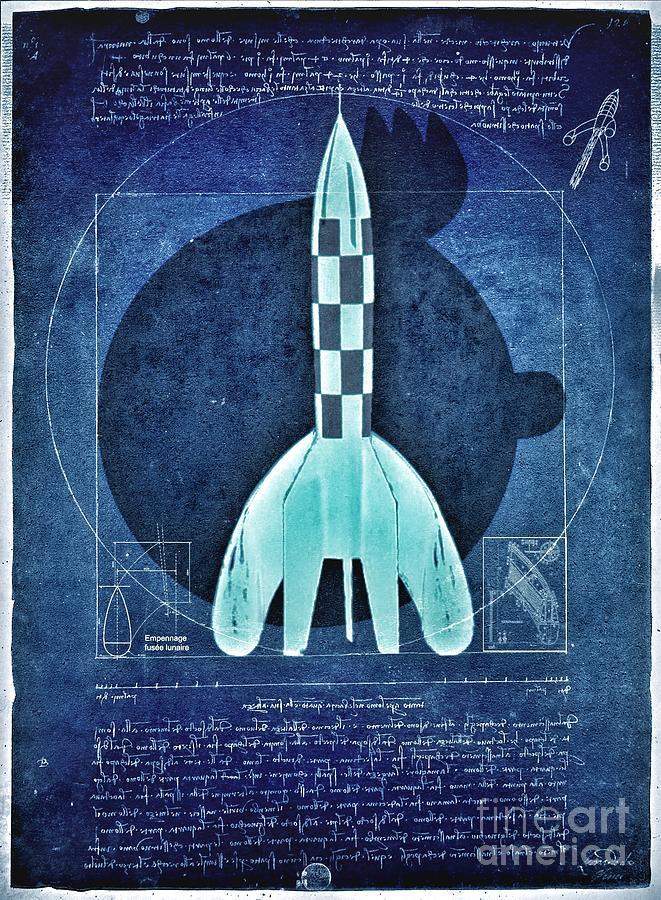 Vitruvian Tintin in space Digital Art by HELGE Art Gallery