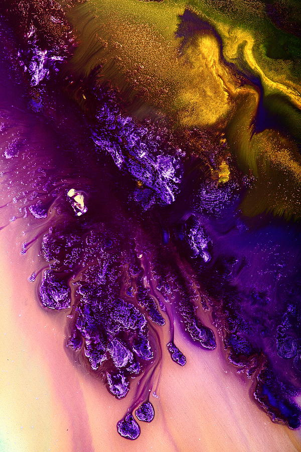 Vivid abstract art purple fugitive gold tones fluid for Purple and yellow painting