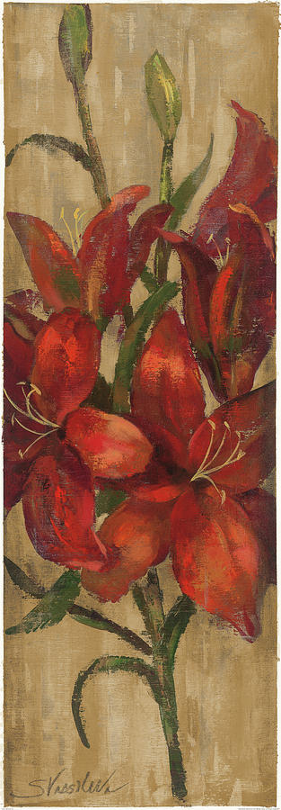 Blooms Painting - Vivid Red Lily On Gold by Silvia Vassileva