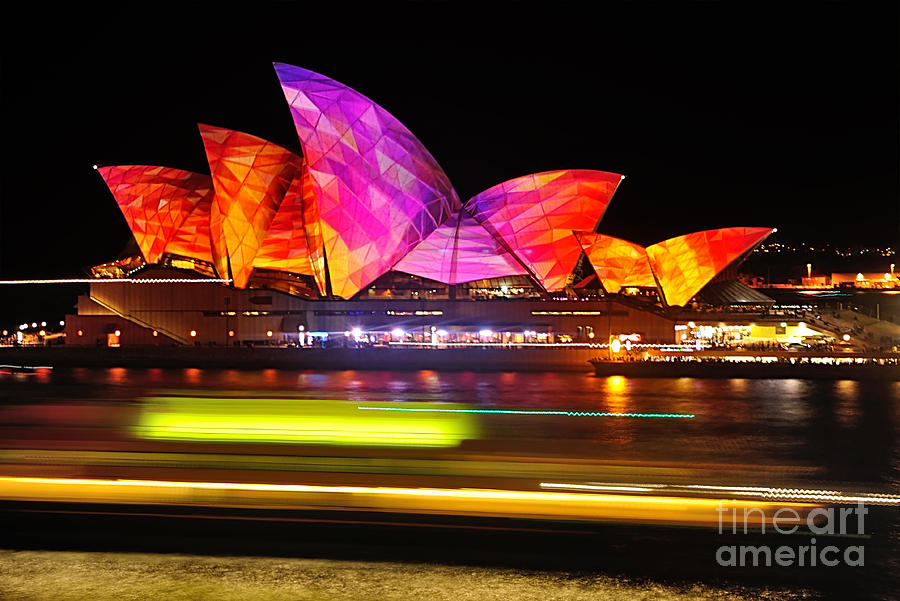 Photography Photograph - Vivid Sydney By Kaye Menner - Opera House ... Triangles by Kaye Menner