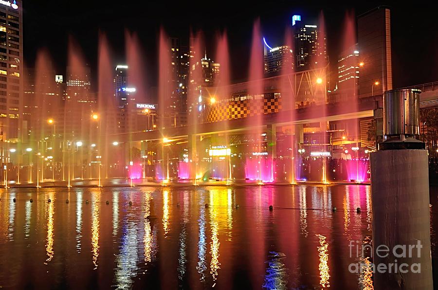Fountains Photograph - Vivid Sydney By Kaye Menner -  Vivid Aquatique  by Kaye Menner