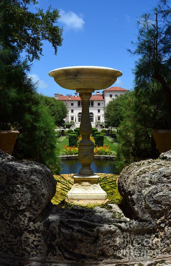 Vizcaya Photograph - Vizcaya Mansion Museum Grounds Botanical Gardens Fountain Miami Florida Vertical by Shawn OBrien