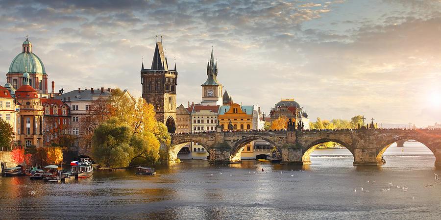 Vltava river and Charles bridge in Prague Photograph by Narvikk