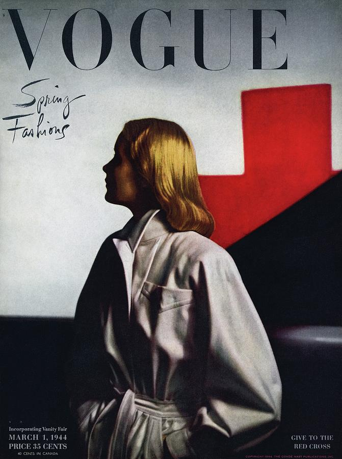 Vogue Cover Featuring A Model Wearing A White Photograph by Horst P. Horst