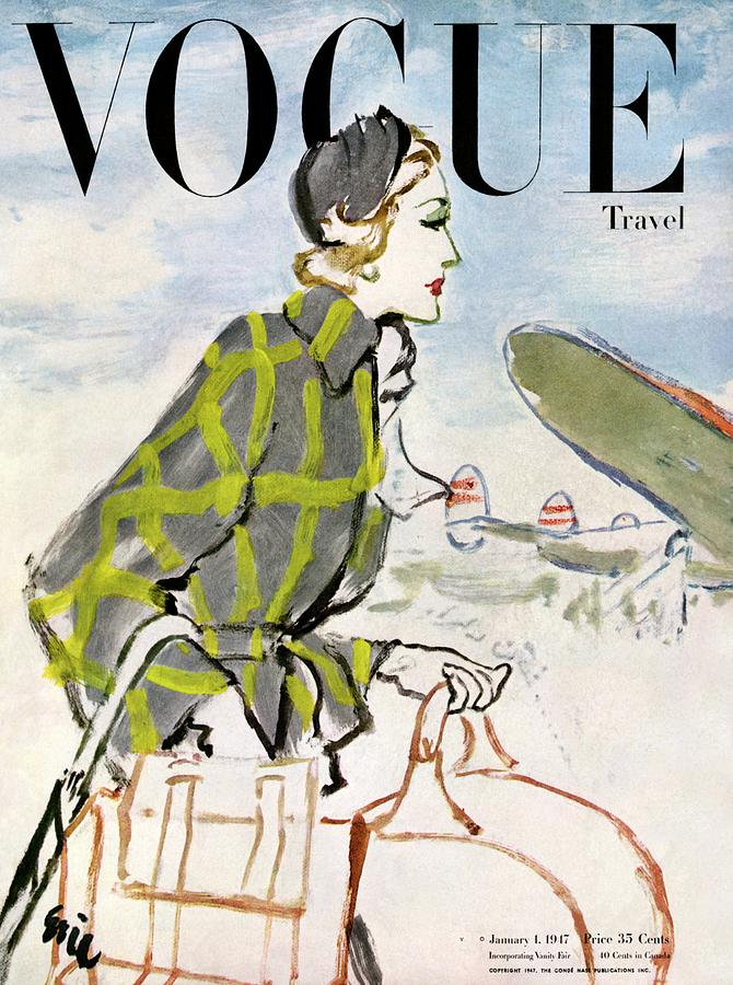 Vogue Cover Featuring A Woman Carrying Luggage Photograph by Carl Oscar August Erickson