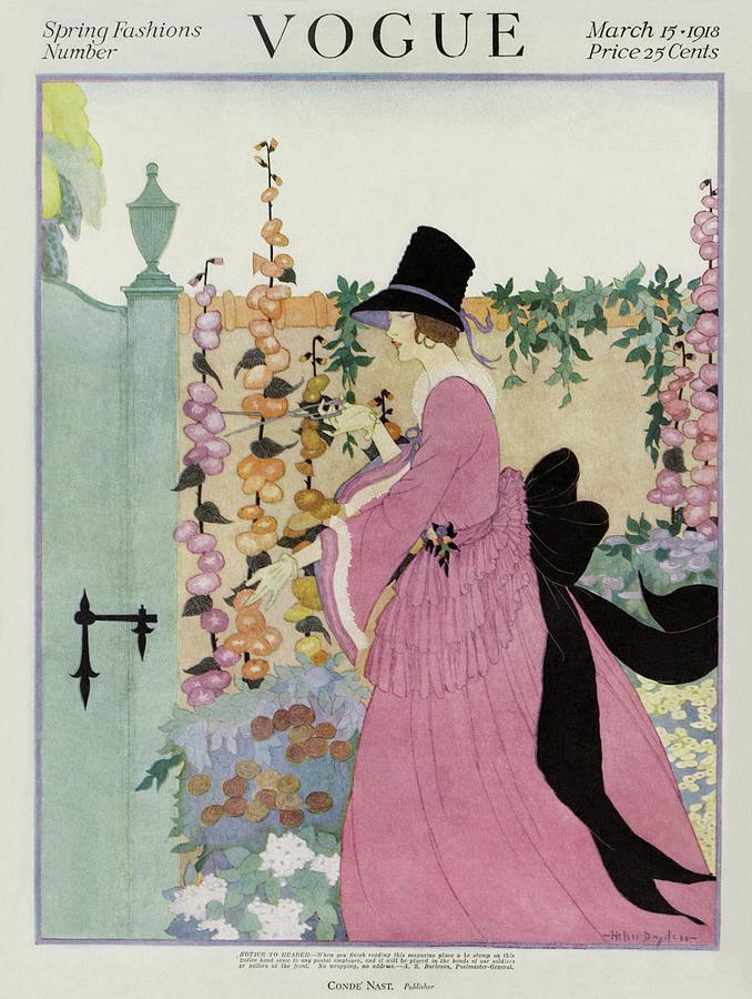 Vogue Cover Featuring A Woman Gardening Photograph by Helen Dryden