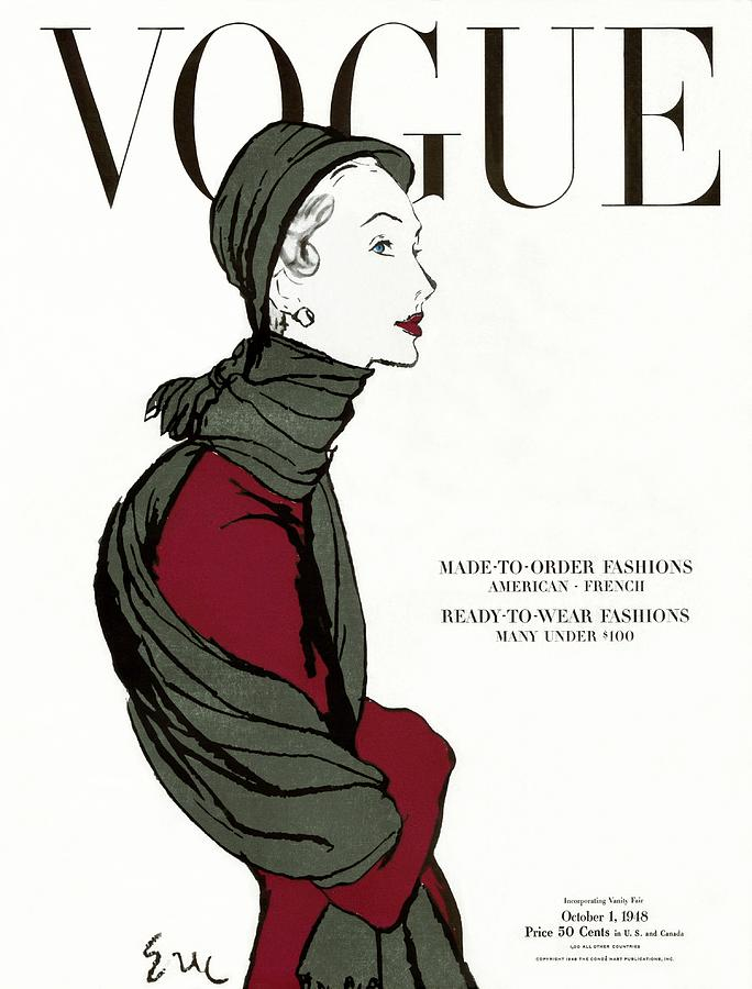 Vogue Cover Featuring A Woman In A Grey Scarf Photograph by Carl Oscar August Erickson