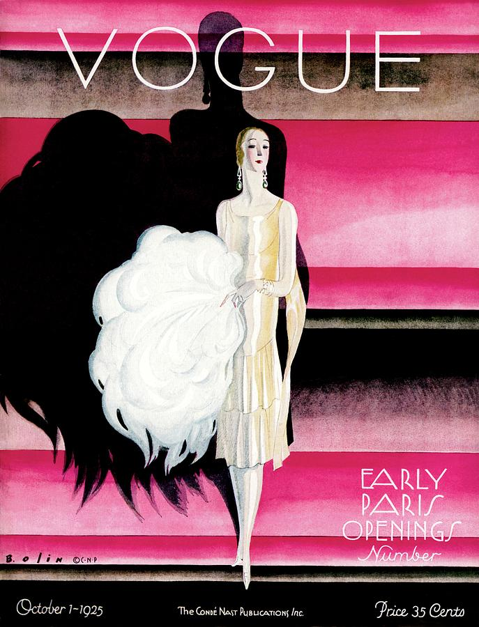 Vogue Cover Featuring A Woman In An Evening Dress Photograph by William Bolin