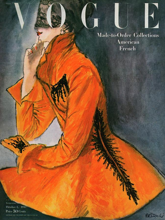 Vogue Cover Featuring A Woman In An Orange Coat Photograph by Rene R. Bouche