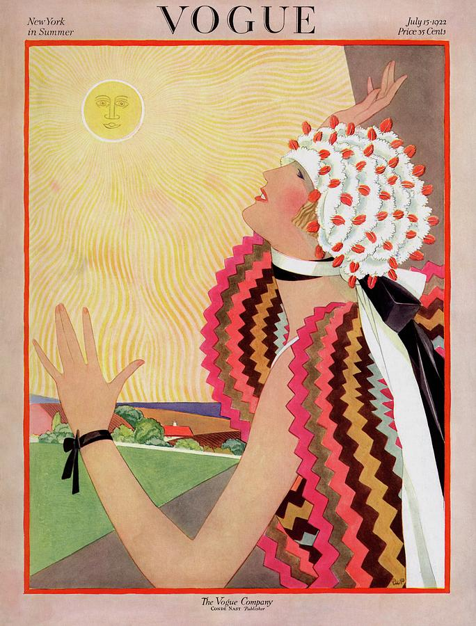 Vogue Cover Featuring A Woman Looking At The Sun Photograph by George Wolfe Plank