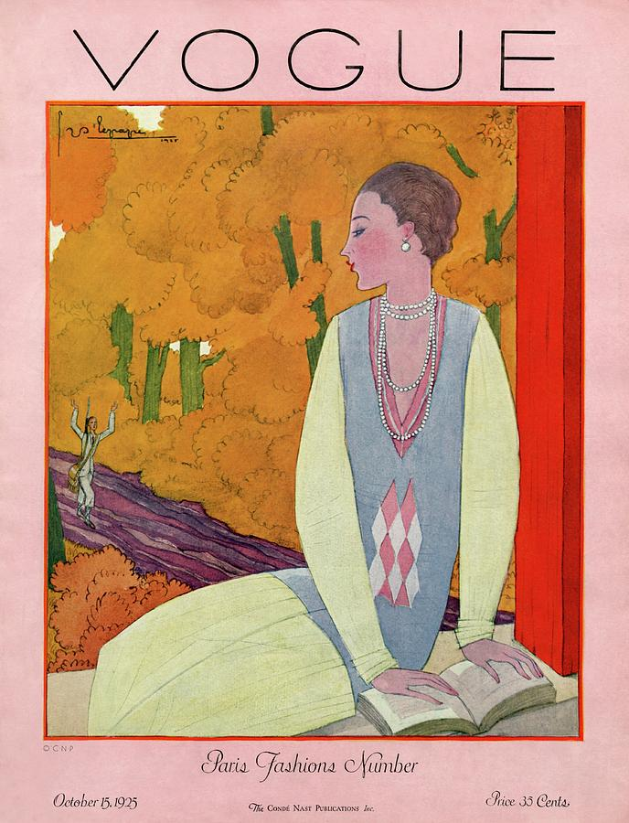 Vogue Cover Featuring A Woman Reading A Book Photograph by Georges Lepape