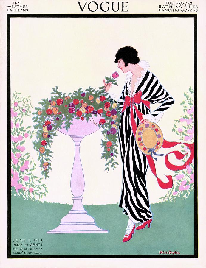 Vogue Cover Featuring A Woman Smelling A Rose Photograph by Helen Dryden