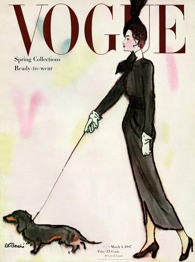 Vogue Cover Featuring A Woman Walking A Dog Photograph by Rene R. Bouche
