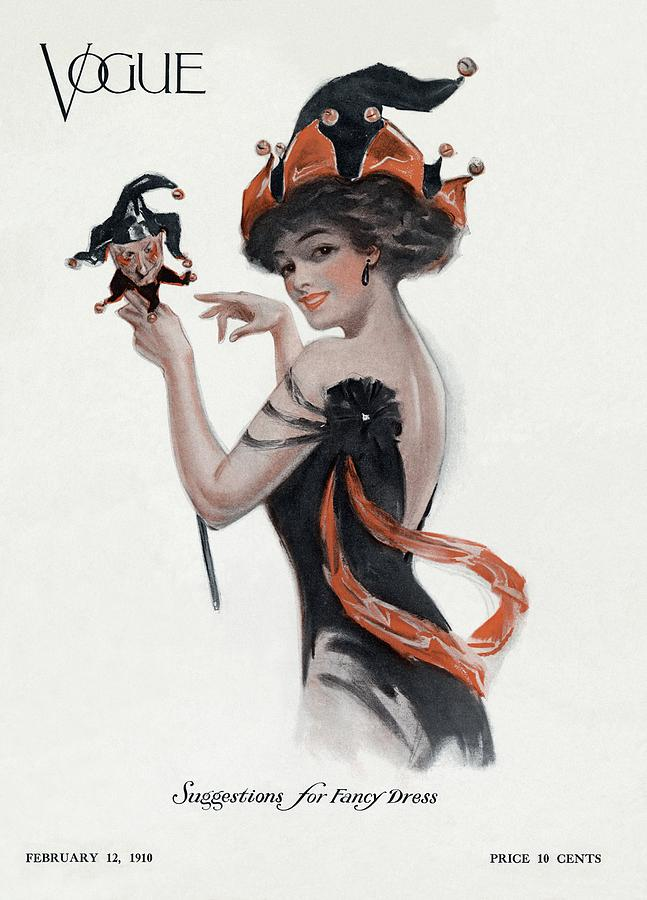 Vogue Cover Of Woman As Jester Photograph by Artist Unknown