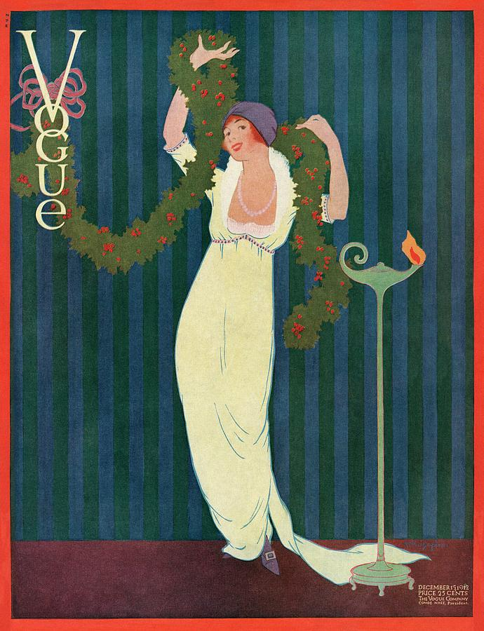 Vogue Cover Featuring A Woman Wearing A Yellow Painting by Helen Dryden