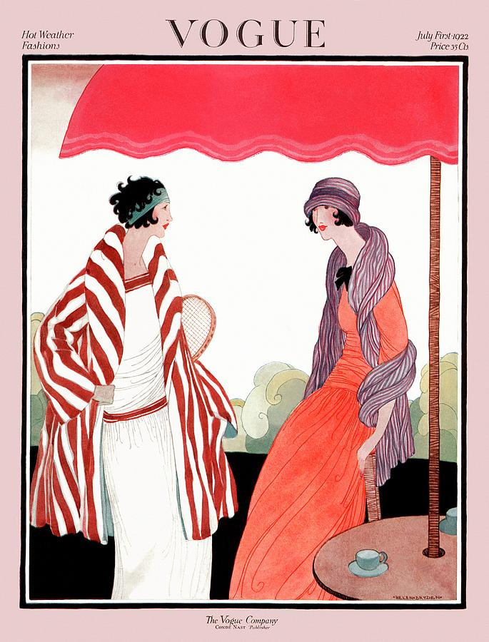 Vogue Cover Featuring Two Women Under A Patio Photograph by Helen Dryden