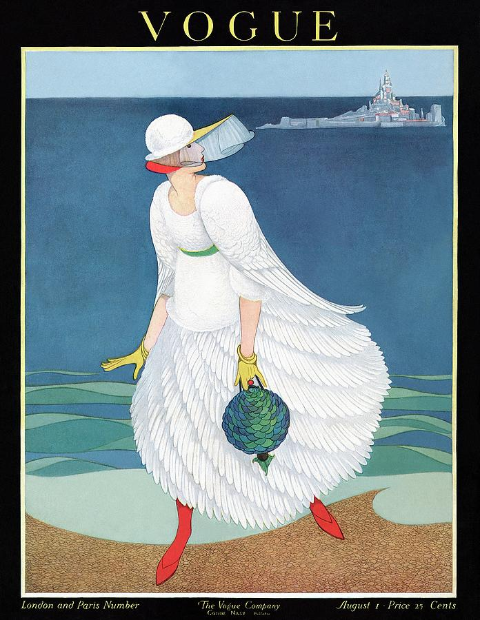 Vogue Cover Featuring Woman At A Beach Painting by George Wolfe Plank