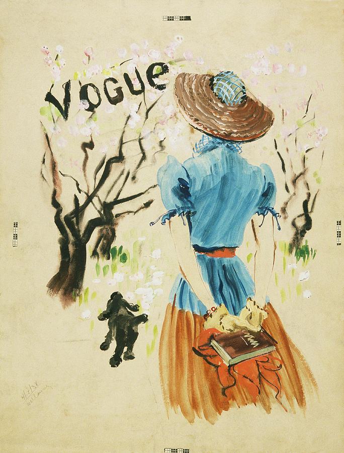 Vogue Cover Featuring Woman Walking Digital Art by Rene Bouet-Willaumez