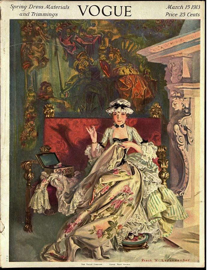 Vogue Cover Illustration Of A 18th Century French Photograph by Frank X. Leyendecker
