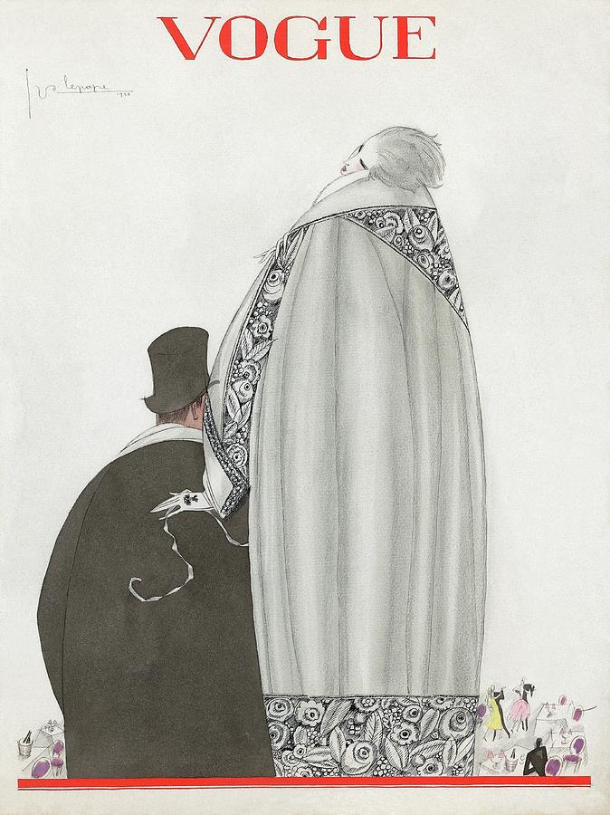 Vogue Cover Illustration Of A Couple Entering Digital Art by Georges Lepape