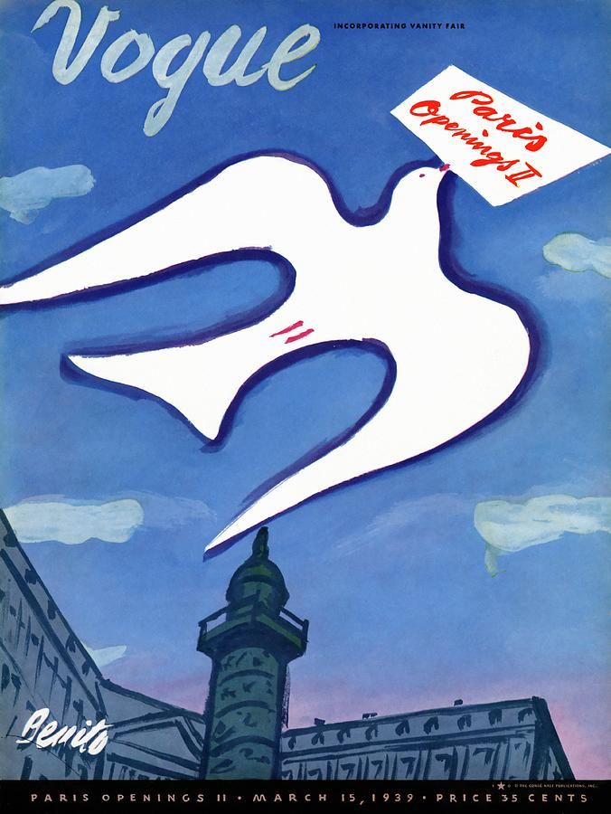 Vogue Cover Illustration Of A Dove Holding A Sign Photograph by Eduardo Garcia Benito
