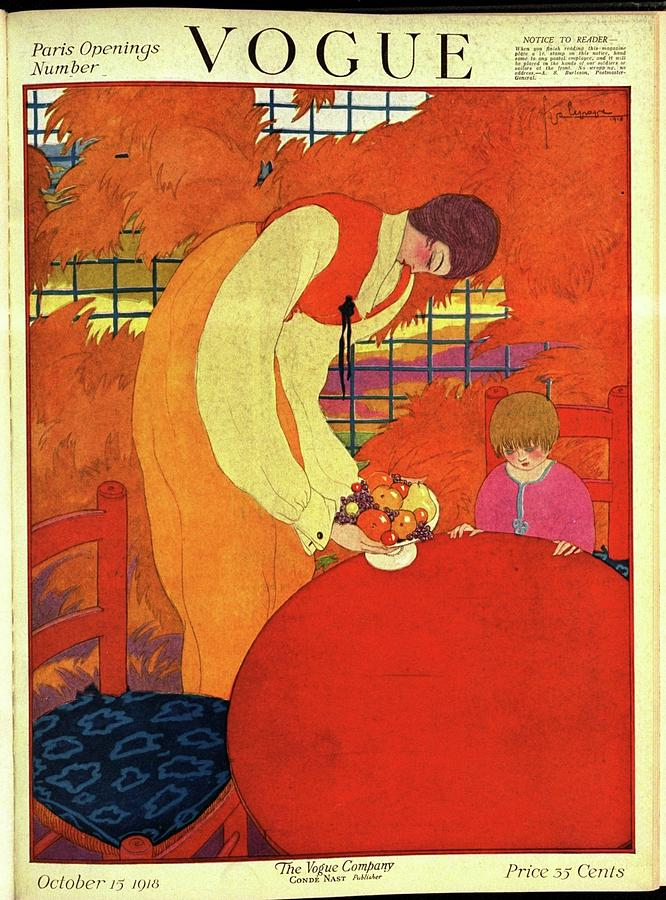 Vogue Cover Illustration Of A Mother And Son Photograph by Georges Lepape