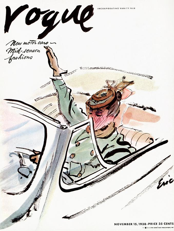 Vogue Cover Illustration Of A Woman Driving A Car Photograph by Carl Oscar August Erickson