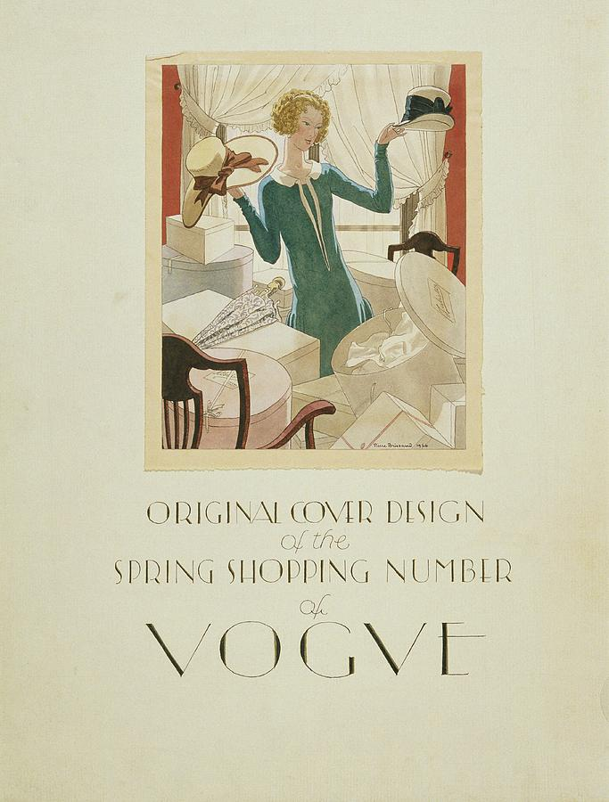 Vogue Cover Illustration Of A Woman Holding Two Digital Art by Pierre Brissaud