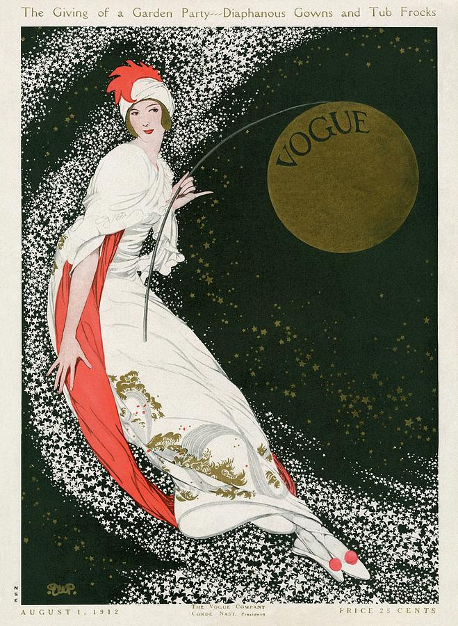 Vogue Cover Illustration Of A Woman In A White Photograph by George Wolfe Plank