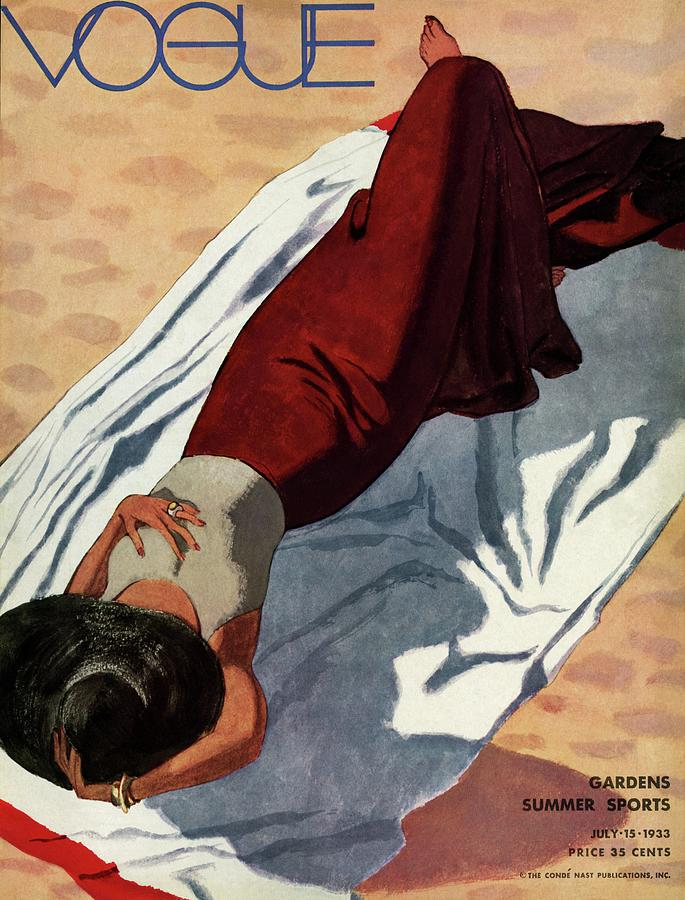 Vogue Cover Illustration Of A Woman Lying Photograph by Pierre Mourgue