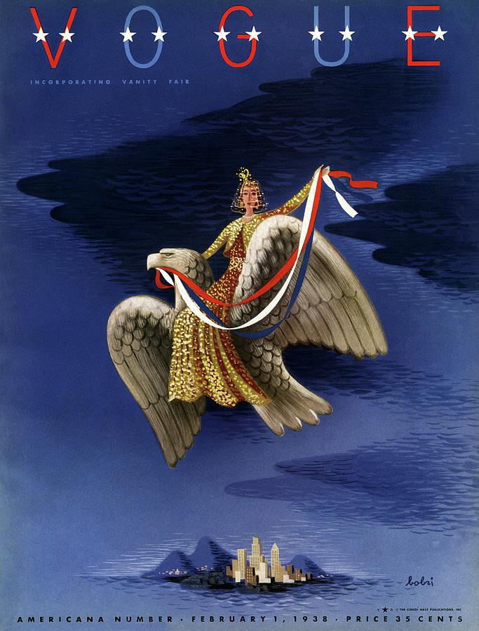 Vogue Cover Of Woman Riding An American Eagle Photograph by Victor Bobritsky
