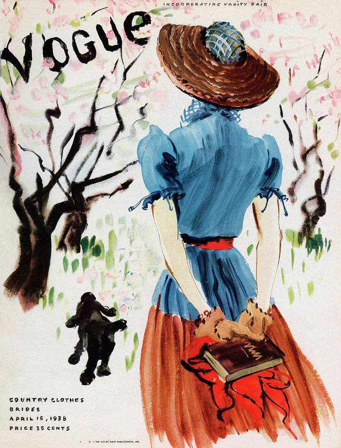 Vogue Cover Illustration Of A Woman Walking Photograph by Rene Bouet-Willaumez
