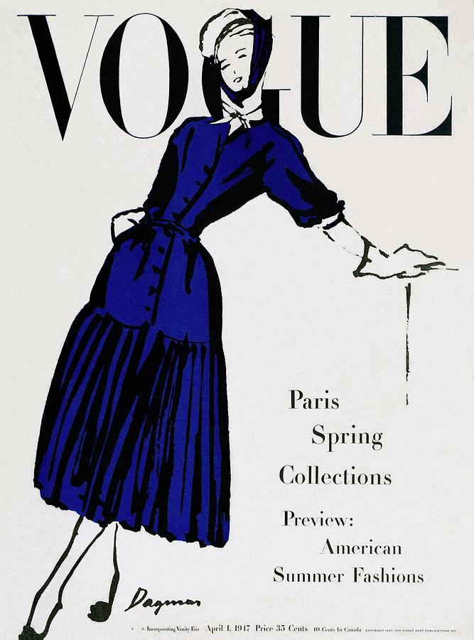 Vogue Cover Illustration Of A Woman Wearing Blue Photograph by Dagmar