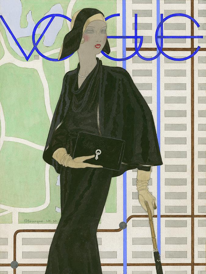 Vogue Cover Illustration Of A Woman Wearing Digital Art by Pierre Mourgue