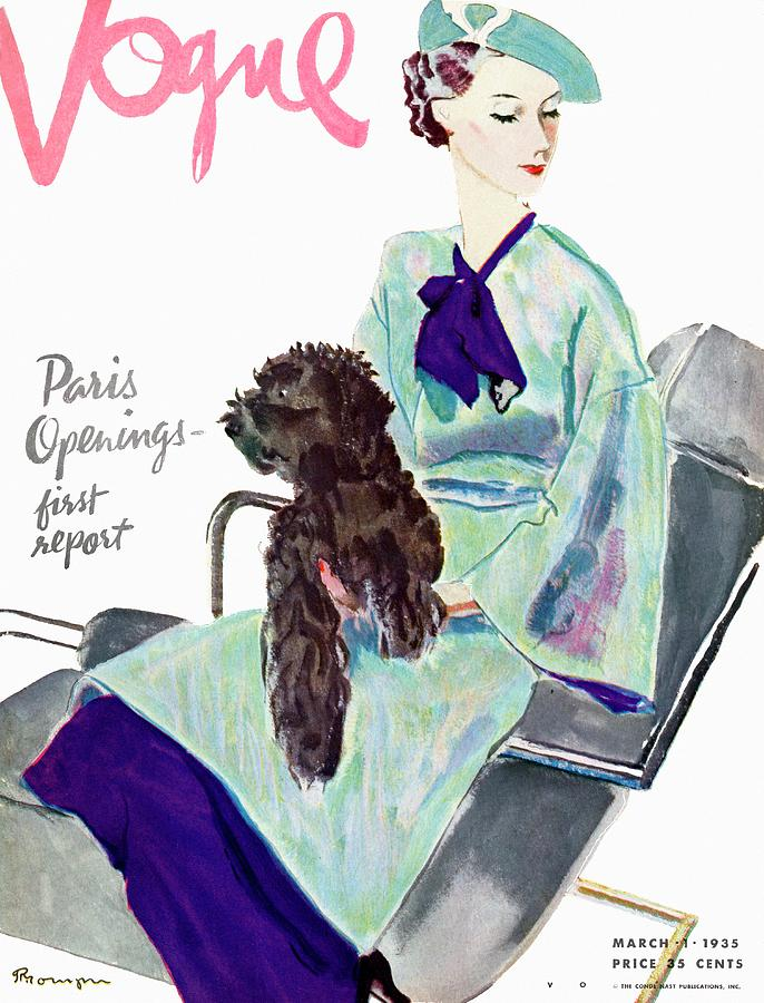Vogue Cover Illustration Of A Woman With Dog Photograph by Pierre Mourgue
