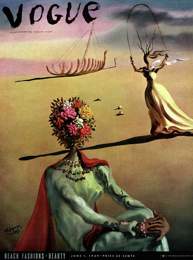 Illustration Photograph - Vogue Cover Illustration Of A Woman With Flowers by Salvador Dali