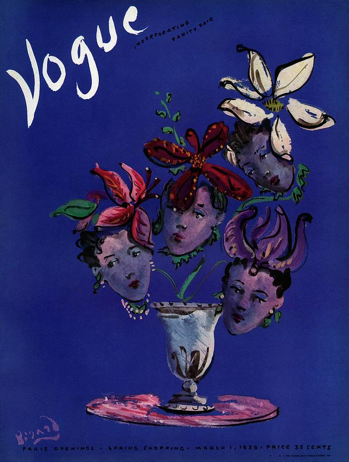 Vogue Cover Illustration Of Four Female Faces Photograph by Christian Berard