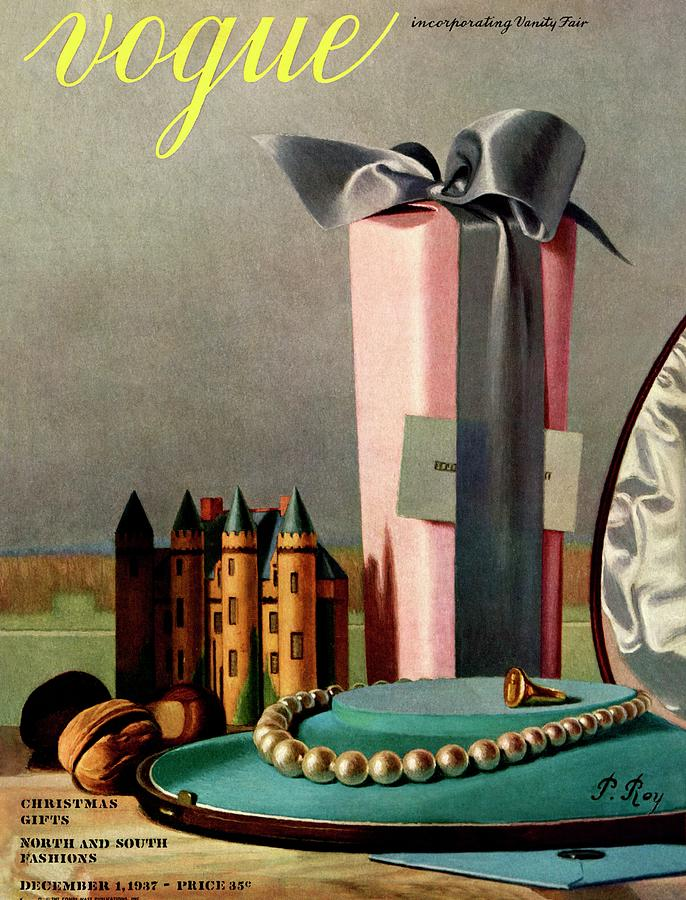 Vogue Cover Illustration Of Holiday Gifts Painting by Pierre Roy
